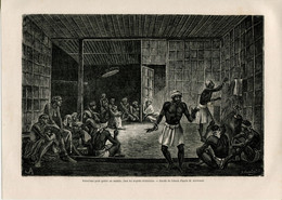 1862 Print Kalimantan Borneo Indonesia Malaysia Dayaki Exorcism To Heal A Sick Person - Prints & Engravings