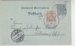 WÜRTTEBERG GS Mit Zusatzfrankatur DEUTSCHES REICH Via BP 1.4.02 Nach COLMAR / Leider Kugelschreiber - Enteros Postales