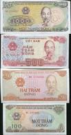VIETNAM SET 4 PCS 100 200 500 1000 DONG 1987 1988 1991 P 100 101 105 106 UNC - Vietnam