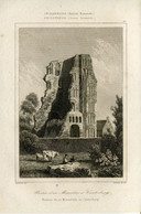 1842 Year Antique Print Engraving England Monastery Church Ruins Canterbury Cow Architecture - Prints & Engravings