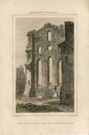 1842 Year Antique Print Engraving England Monastery Church Ruins Tynemouth Architecture - Prints & Engravings