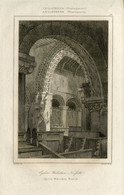 1842 Year Antique Print Engraving England Church Tower Town Hall Walsoken Norfolk Interior Architecture - Prints & Engravings