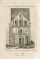 1842 Year Antique Print Engraving England Iffley Church Cathedral Castle Normandy Architecture - Prints & Engravings