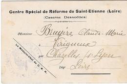 1921 - Centre Spécial De Réforme De Saint-Etienne (Caserne Desnoëttes) - Récépissé De Remise De Dossier - Saint Etienne