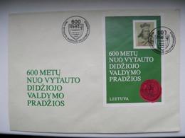 FDC Cover Lithuania M/s Block 1993 Grand Duke Vytautas 600 - Lithuania