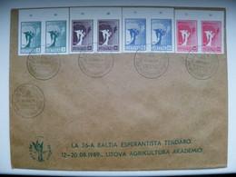 Cover Lithuania 1990 Angel Map Special Cancel Week Of Letter, Esperanto 1989 Litovio Tendaro - Lithuania