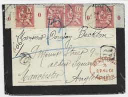 MOUCHON 10C X7 BDF O+ BLANC 2CX2+BDF 0+ 1BDF 1 LETTRE DEUIL REC PARIS 70 1901 POUR MANCHESTER - 1900-02 Mouchon