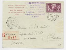 FRANCE N° 256 SEUL LETTRE REC C. HEX PARIS IX A Bau DU PETIT JOURNAL 19.3.1930 AU TARIF PEU COMMUN - 1921-1960: Modern Period