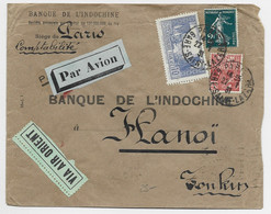 FRANCE N° 261+239+272 LETTRE AVION PARIS GARE SAINT LAZARE 22.1.1931 POUR HANOI TONKIN - 1921-1960: Modern Tijdperk