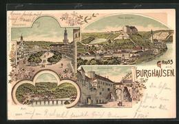 Lithographie Burghausen, Schlosshof, Hauptplatz Aus Der Vogelschau, Totaleansicht - Burghausen