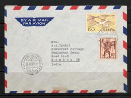 Swiss 1949 Switzerland Pro Aero. Chaux-De-Fonds Expedition & St Gallen Postmarks On Cover To India ` - Brieven En Documenten