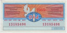 Russia 1989 Vintage / Lottery Ticket 50 Kopeks / International Lottery Of Journalists OIJ / VF - Lottery Tickets