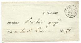 DEVANT DE MARQUE POSTALE / PARIS POUR PARIS ILE SAINT LOUIS / 1817 - 1801-1848: Precursori XIX