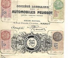 Traite Illustrée 1935 / 54 NANCY / Automobiles PEUGEOT / 4 Timbres Fiscaux - Bills Of Exchange
