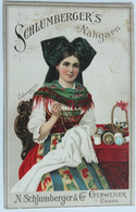 Grande Chromo Cotons à Coudre Femme Alsacienne Elsasserin Coiffe Costume N. Schlumberger & Cie Guebwiller Gebweiler - Otros