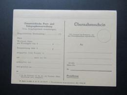 Österreich 1957 Übernahmeschein Österreichische Post Und Telegraphenverwaltung / Postdienst Ungebrauchte Karte - 1945-60 Brieven