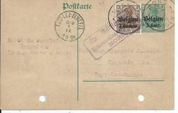 5 Cent-postkarte Met Bijfrankering BZ 1- Afstempeling MONS 1 / FAYT-LEZ-SENEFFE - [OC1/25] General Gov.