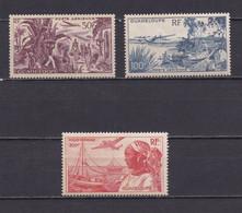 GUADELOUPE 1947  PA N°13/15 NEUFS** VUES - Posta Aerea