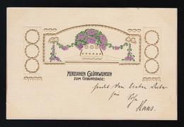 Lila Blumen Goldornamente Schleifen Glückwunsch Geburtstag, Cöln 17.12.1911 - Andere