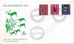 NORVEGE. N°447a + N°524A/B De 1970 Sur Enveloppe 1er Jour. Série Courante/Tir à L'arc. - FDC
