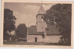 CPA  - 36 - SAUZELLES (Indre, 250 Hab) - L' Eglise Et Le Monument Vers 1920 1930 Env Photo Georges Dayet - CARTE RARE - - Other Municipalities