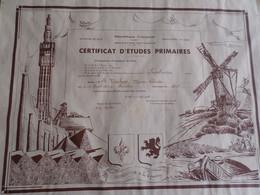 RF CERTIFICAT D'ETUDES PRIMAIRES MENTION BIEN  CANTON DE LANDRECIES (NORD) HABITANTE DE PRISCHES (NORD) 1935 - Diploma & School Reports