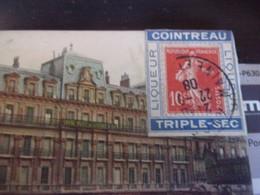 1908 Porte Timbre-10 C Semeuse Camee Rouge-COINTREAU VALENCE HOTEL DE LA CROIX D OR - 1877-1920: Semi Modern Period