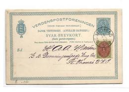 D.W.I. Danish West Indie Antilles Danoises E.P. Carte Postal Stationery Card 2c. Blue On Light-cream + Tp 1cent. Brown - Deens West-Indië