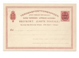 D.W.I. Danish West Indie Antilles Danoises E.P. Carte Postal Stationery Card 3c. Red On Light-cream Ovpt.1 Cent 1902, - Deens West-Indië