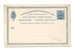 D.W.I. Danish West Indie Antilles Danoises E.P. Carte Postal Stationery Card 2c. Blue Light On Light-cream Ovpt.1 Cent - Deens West-Indië