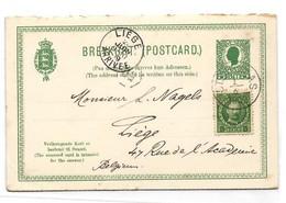D.W.I. Danish West Indie Antilles Danoises E.P. Carte Postal Stationery Reply Card 5 Bit .+ 5bit Green On Light-cream - Deens West-Indië