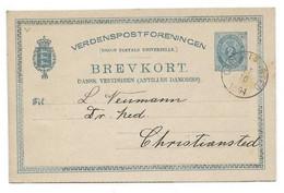 D.W.I. Danish West Indie Antilles Danoises E.P. Carte Postal Stationery Card 2c. .blue On Light-cream Canc. CHRISTIANST - Deens West-Indië