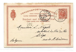D.W.I. Danish West Indie Antilles Danoises E.P. Carte Postal Stationery Reply Card 10bit + 10bit . Red On Light-cream C - Deens West-Indië