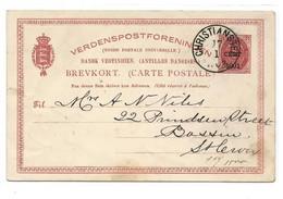D.W.I. Danish West Indie Antilles Danoises E.P. Carte Postal Stationery Card 2c. Red On Light-cream Ovpt 1 Cent. 1901 - Deens West-Indië