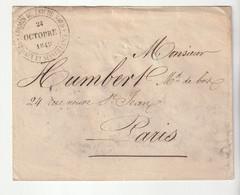"""Lettre En Franchise Avec  Cachet """" Chemin De Fer Du Nord / Travaux Et Surveillance, 1849"""" - 1849-1876: Classic Period"""