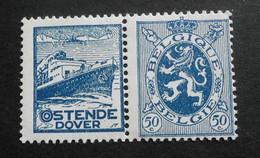 1929 : Cob PU35*  50C  Oostende-dover  (trace Charnière D5 ) Voir Verso - Werbung