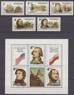 Poland 24.09.1975 Mi # 2400-04 Bl 63, American Revolution Bicentennial MNH OG - Us Independence