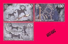 KYRGYZSTAN 2021 History Archaeology Stones Petroglyphs Saimaluu Tash 3v Mi KEP172-174 MNH - Prehistory