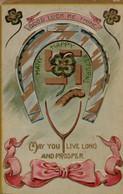 Illustrée  Gaufrée .dorée RARISSIME .  PORTE BONHEUR ( Fer à Cheval, Trèfles Et Rubans  Avec Une Croix Gammée - Autres