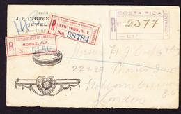 1906 R-Brief Aus Costa Rica über Mobile, Alabama Und New York Nach London. Schmuckgeschäft. Minim Fleckig. - Costa Rica