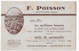 BUVARD  F POISSON COUTANCES (Manche) BEURRES OEUFS DE NORMANDIE  (Cotentin Isigny) ** RARE ** - Food