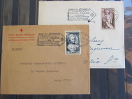 Croix Rouge 1950 - N° 876 Et 877 - Oblitération Croix Rouge Paris - Enveloppe Croix Rouge - Cartas