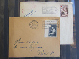 Croix Rouge 1954 - N° 1006 Coin De Feuille Et 1007  - Oblitération Croix Rouge Paris Et Festival ESSEC - PLEYEL - Cartas