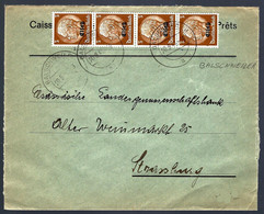 BALSCHWEILER HAUT-RHIN - BALSCHWILLER - BANDE DE 4 - 3c SURCHARGÉ ELSAß - Alsace Lorraine