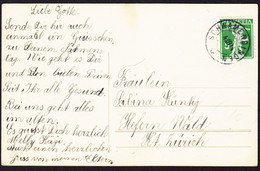 1914 Gelaufene AK Mit Stempel Schwamendingen Auf Tell Knabe 5 Rp Marke. - Cartas