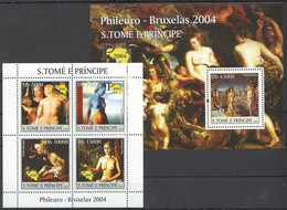 Sao Tome 2004 MNH MS+SS, Paul Delvaux Nude Paintings, Art - Nus