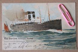 """RED STAR LINE, ANTWERPEN NEW YORK - Doppelschrouben Postdampfer """"KROONLAND"""" Avant  1906 Signée H. CASSIERS - Piroscafi"""