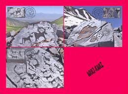 KYRGYZSTAN 2021 History Archaeology Stones Petroglyphs Saimaluu Tash Mi KEP172-174 3 Maxicards Maximum Cards - Prehistory