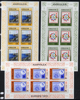 Gibraltar 1977 'Amphilex 77' Stamp Exhibition Set Of 3 Sheetlets Each Containing 6 Values, U/M SG 390-92 - Gibilterra