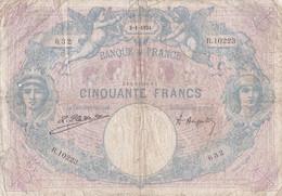 Billet Avec épinglages, Petits Manques, Plis Et Déchirures Sur La Tranche Supérieure. - 50 F 1889-1927 ''Bleu Et Rose''